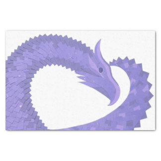 Periwinkle heart dragon on white tissue paper
