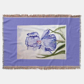 Periwinkle Iris Watercolor art Throw Blanket