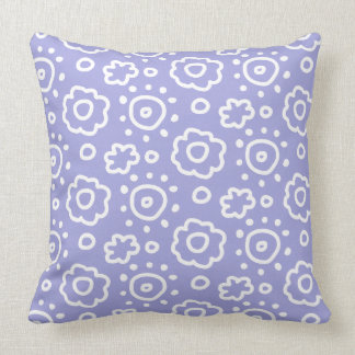 Periwinkle Lavender White Floral Pattern Pillow