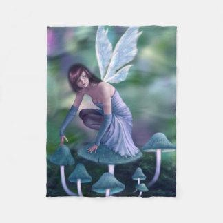Periwinkle Mushroom Fairy Fleece Blanket