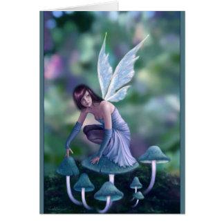 Periwinkle Mushroom Fairy Greeting Card