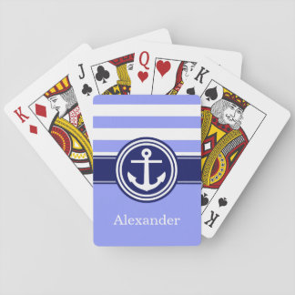 Periwinkle Navy Blue Nautical Stripe Anchor 1ICBR Playing Cards