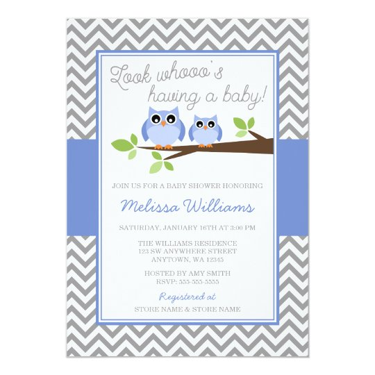 Periwinkle Owl Grey Chevron Girl Baby Shower Card
