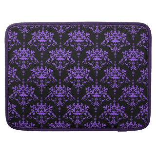 Periwinkle Purple and Black Damask Sleeve For MacBooks