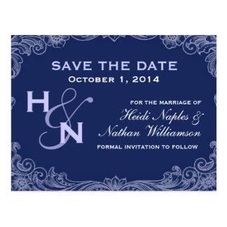 Periwinkle Purple Swirl Save Date Postcard V008