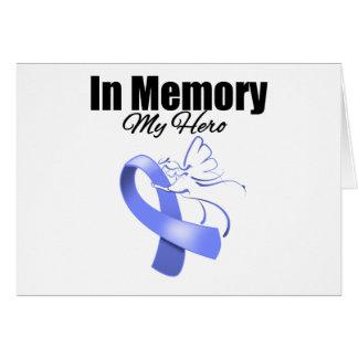 Periwinkle Ribbon In Memory of My Hero Greeting Cards