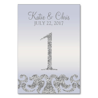 Periwinkle Silver Glitter Look Table Numbers-1 Card