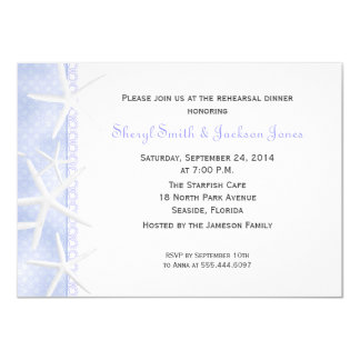 "Periwinkle Starfish Wedding Rehearsal Dinner 4.5"" X 6.25"" Invitation Card"