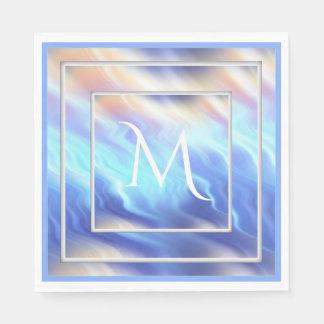 Periwinkle Turquoise Aqua Framed Monogram Paper Napkins