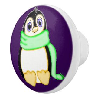 Perky Penguin Ceramic Knob