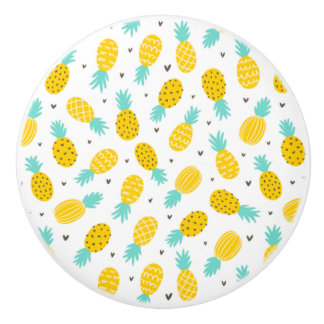 Perky Pineapples Ceramic Knob