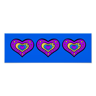 Perky Purple Hearts 15 x 5 Posters