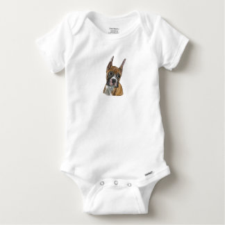 Perky Red Fawn Boxer Dog Baby Onesie