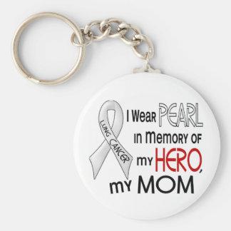 Perle dans la mémoire de mon cancer de poumon de porte-clé rond