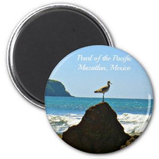 Perle de l'oiseau Pacifique de Mazatlan Mexique Magnet Rond 8 Cm