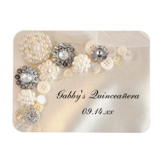Perle et aimant de Quinceañera de boutons de diama Magnets Rectangulaires