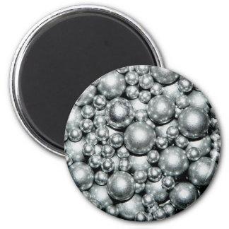 Perles argentées brillantes en métal magnet rond 8 cm