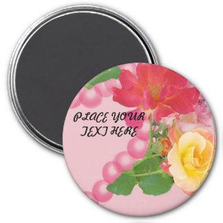 Perles et roses roses magnet rond 7,50 cm
