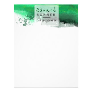 Permanent Green Professional Watercolor Design Letterhead Template