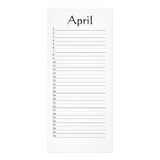 Perpetual Calendar April Daniel 4:22 Rack Card