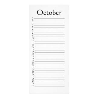 Perpetual Calendar October Isaiah 44:23 Rack Card