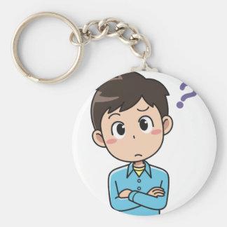 Perplexed Boy Keychain