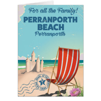 Perranporth beach Vintage seaside poster Card