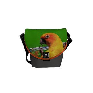Perroquet accrochant sur un mini sac messenger zér sacoches