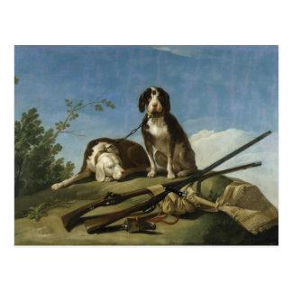 Perros en traílla Postcard