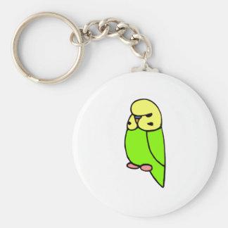 Perruche anglaise verte porte-clé rond