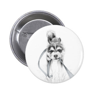 Perseverance, A Siberian Husky 2 Inch Round Button