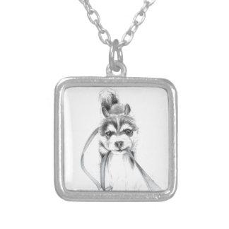 Perseverance, A Siberian Husky Square Pendant Necklace