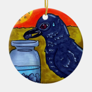 Perseverance Crow Ceramic Ornament