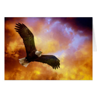Perseverance-Eagle In Firey Clouds Blank Notecard