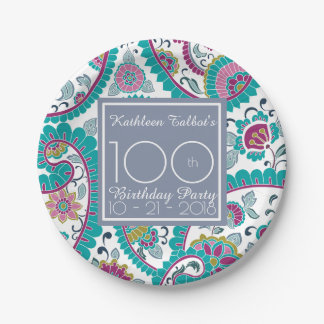 Persian Boteh Paisley 100th Birthday Party Paper P Paper Plate