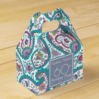 Persian Boteh Paisley 60th Birthday Thank You F B Favor Boxes