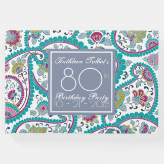 Persian Boteh Paisley 80th Birthday Party Guest B Guest Book