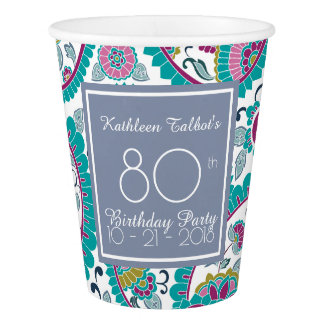 Persian Boteh Paisley 80th Birthday Party Paper C Paper Cup