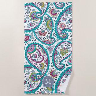 Persian Boteh Paisley Pattern Monogram Beach Towel