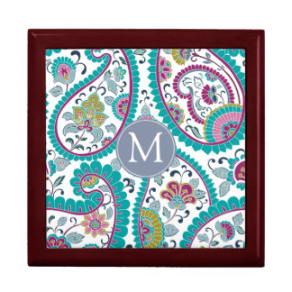 Persian  Boteh Paisley Pattern Monogram Gift Box