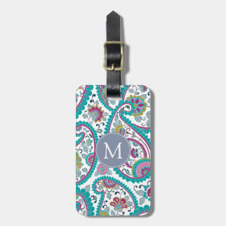 Persian  Boteh Paisley Pattern Monogram Luggage T Luggage Tag