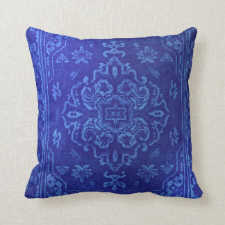 Persian carpet look in blue throw pillow