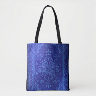 Persian carpet look in blue tote bag