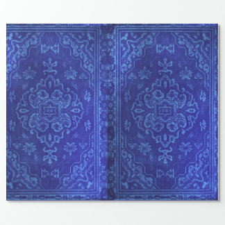 Persian carpet look in blue wrapping paper