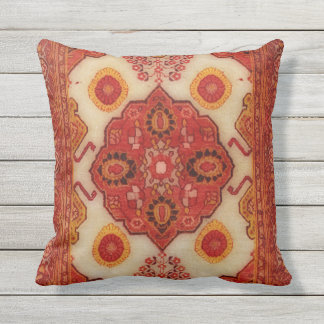 Persian carpet look in copper color outdoor pillow