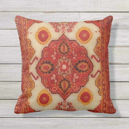 Persian carpet look in copper colour outdoor pillow