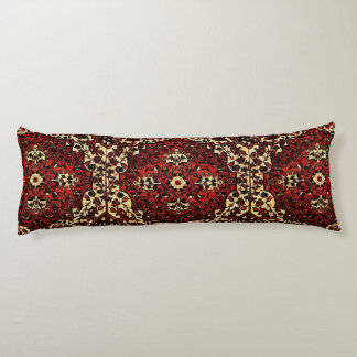 Persian carpet look in dark red and cream body pillow