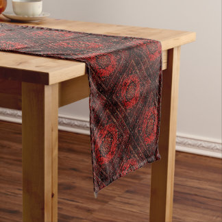 Persian carpet look in rose tinted field short table runner