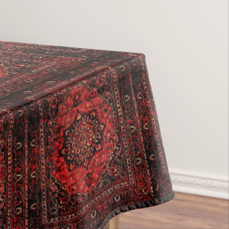 Persian carpet look in rose tinted field tablecloth