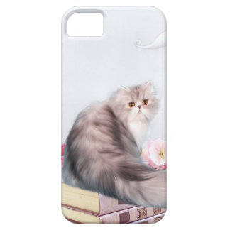Persian cat and books case for the iPhone 5